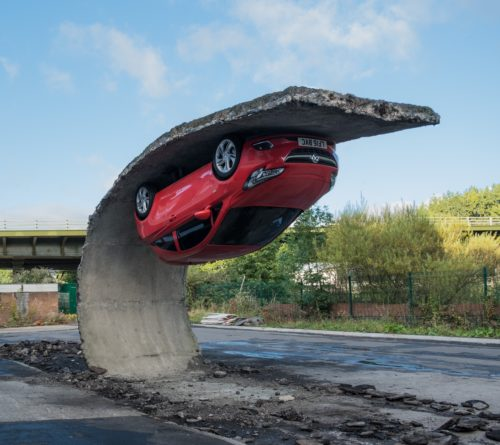 Alex Chinneck for Vauxhall Motors: Pick yourself up and pull yourself together