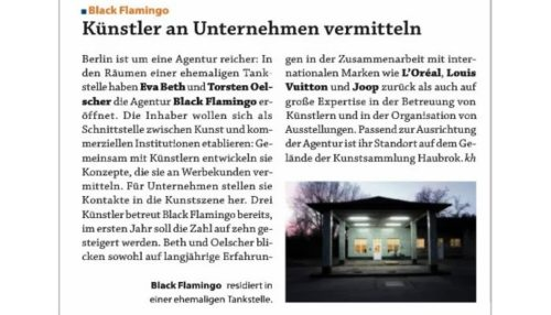 "an article in German ad mag ""Kontakter"" about black flamingo."